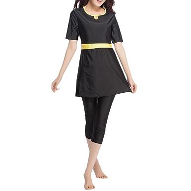 Zhhlinyuan Women Modest Swimming Costume Swimwear Two pieces Short Sleeve Muslim Maillot de bain Vente Recherche Vente Pas Cher Le Meilleur qualité rFPSPcsz