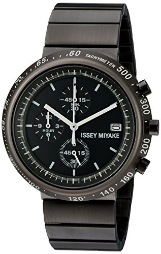 ISSEY MIYAKE Men's 'Trapezoid' Quartz Stainless Steel Casual Watch, Color:Black (Model: SILAZ003)