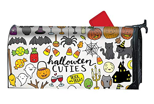 JuLeFan Mailbox Cover Outdoor Decoration, Cute Halloween Clipart, Rust-Proof Magnetic Mail Box -