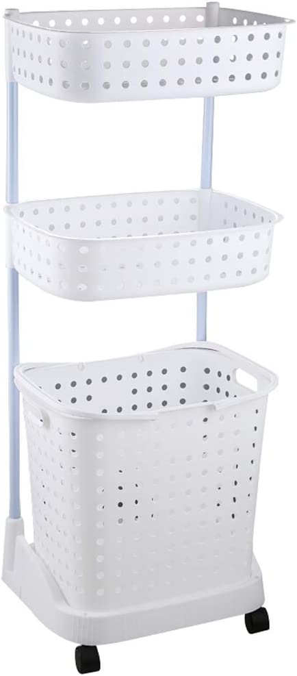 Laundry Basket Cart, Multi-Layer Multifunction Dirty Clothes Basket with Scroll Wheel and Removable Basket for Bathroom Kitchen Living Room,White,3 Layers