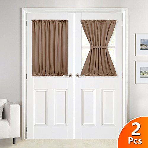 French Patio Door (NICETOWN Patio Door Curtain Blinds for Privacy - Enhancing Blackout French Door Curtain Panels With Adjustable Velcro - 2 Pieces W54 x L40-Inch - Cappuccino)