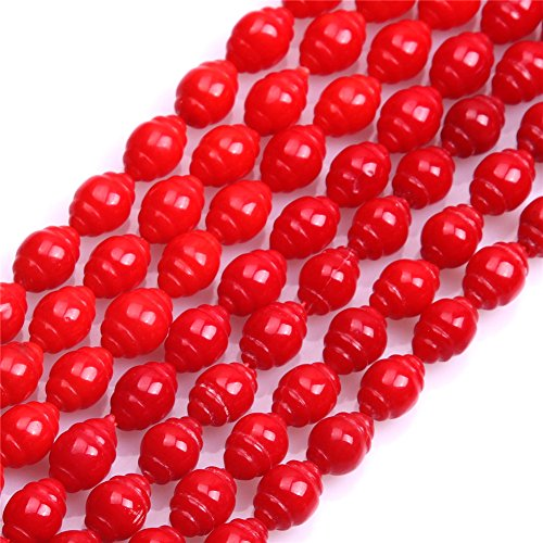 (6x8mm Corkscrew Shape Red Coral Beads Strand 15 Inches Jewelry Making Beads)