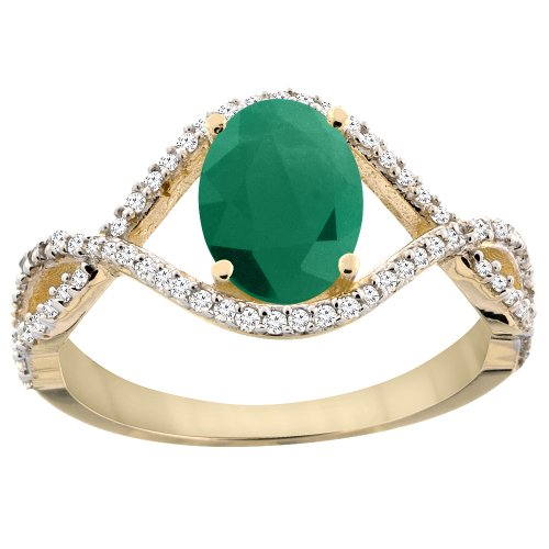 14K Yellow Gold Natural Cabochon Emerald Ring Oval 8x6 mm Infinity Diamond Accents, size 10