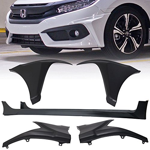 - Bumper Splitter Fits 2016-2018 Honda Civic | 4Dr HF-P Style Front & Rear Bumper Lip & Side Skirts Spoiler Valance Chin Diffuser Body kit PP by IKON MOTORSPORTS | 2017