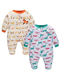 Baby Cotton Sleepsuit, 2-Pack Long Sleeve Footies Boys Girls Rompers Front Open