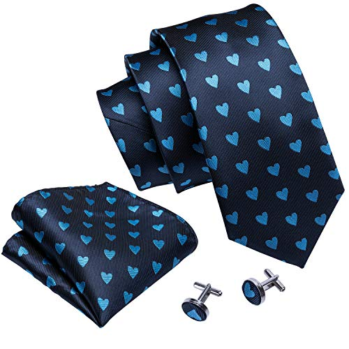 - Heart Shaped Tie Set Blue Tie Handkerchief Cufflinks Silk Necktie