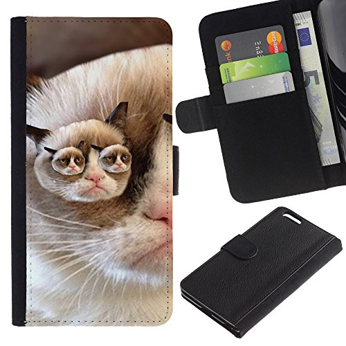 OMEGA Case / Apple Iphone 6 PLUS 5.5 / grumpy cat pink nose shorthair funny / Cuir PU Portefeuille Coverture Shell Armure Coque Coq Cas Etui Housse Case Cover Wallet Credit Card