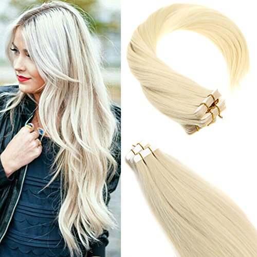 Sunny 22″ Tape in Hair Extensions #60 Blonde Skin Weft Tape Hair Extensions 20Pcs Seamless Tape in Human Hair Extensions 50g Review