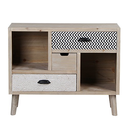 Wooden Cabinet Handmade Multifunctional Washed White Storage With 3 Drawers by VIVA HOME