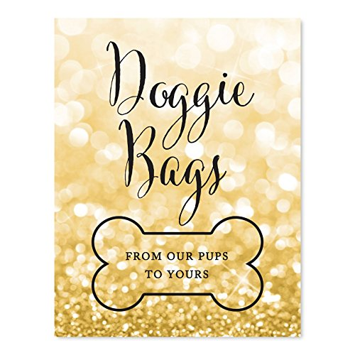 Andaz Press Wedding Party Signs, Glitzy Gold Glitter, 8.5x11-inch, Doggie Bags, from Our Pups to Yours, Bone Graphic, 1-Pack, Gifts for Dogs