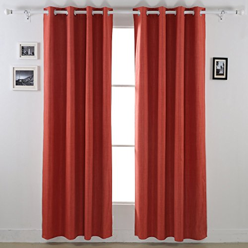 Deconovo Blackout Curtains With White Backing Grommet Top Thermal Insulated For Living Room 52W X 95L Orange Rust 2 Panels