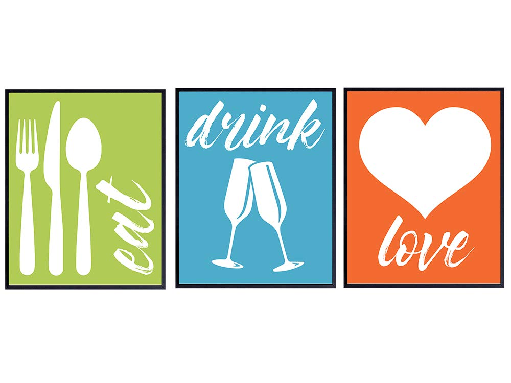 Eat Drink Love Kitchen Decor - Dining Room Wall Art Decor - Cafe Kitchen Decor - Cute Original Unique Home Decoration or Housewarming Gift - 8x10 Modern Green Blue Orange Poster Print