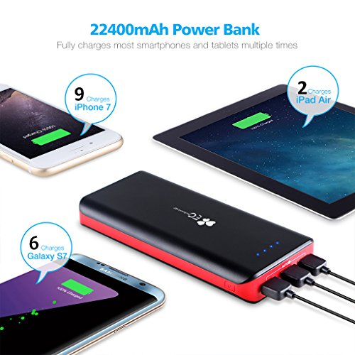 EC engineering mobile Charger 22400mAh EC engineering mega higher Capacity External Battery Pack USB phone Charger capability Bank utilizing 3 USB Outputs LED Flashlight for iPhone Samsung Galaxy and more Black and Red Amazoncom