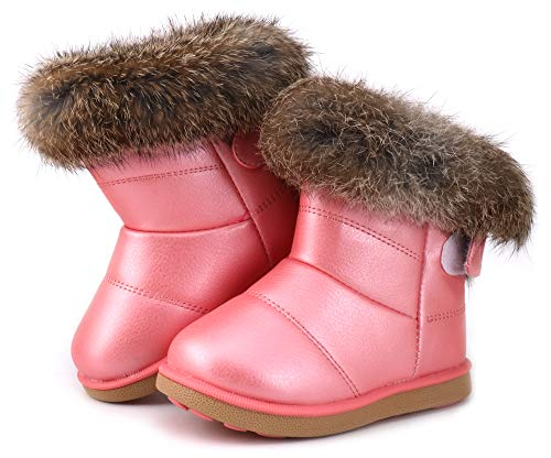 Femizee Toddler Girls Fully Fur Lined Waterproof Winter Snow Boots,Pink 1934 CN25