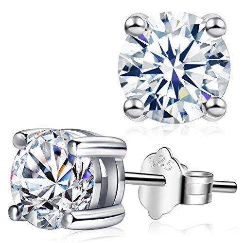 Diamond Earrings, Cat Eye Jewels S925 Sterling Silver AAA Round Four Claws Halo Cubic Zirconia Stud Earrings