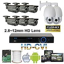 GW Security 8 Channel HD-CVI Camera HD 1080P CCTV DVR Kit : 6 x 1080P 2.8-12mm Varifocal Manual Zoom Cameras 160FT IR Night Vision + 2 x 1080P HD-CVI PTZ Camera 20 times Zoom + 1 x 4TB HDD