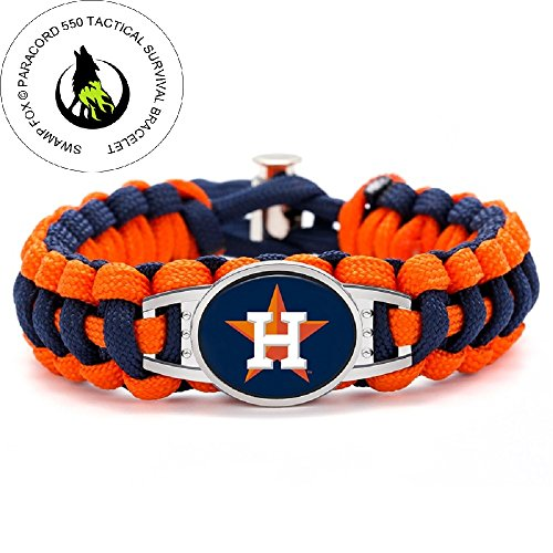 Swamp Fox Premium Style Houston Astros Baseball Team Adjustable Paracord Bracelet Astro Jewelry