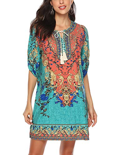 ARANEE Women's Bohemian Vintage Printed Loose Casual Boho Tunic Dress (X-Large, Green2)