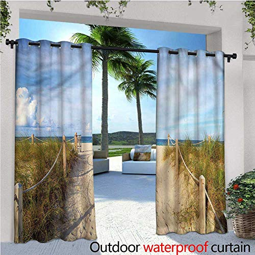 warmfamily Beach Outdoor- Free Standing Outdoor Privacy Curtain Sandy Beach Entry Fence Miami for Front Porch Covered Patio Gazebo Dock Beach Home W96 x L108