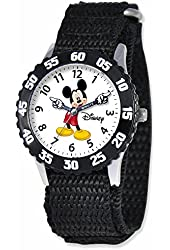 Disney Mickey Mouse Kids Black Nylon Velcro Strap Time Teacher Watch