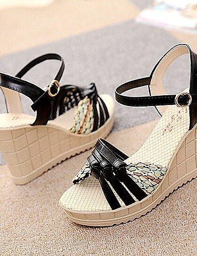 ShangYi 2015 New Fashion Hot Sale Womens Shoes Wedge Heel Peep Toe Sandals Dress White/Black/Pink/Blue Black