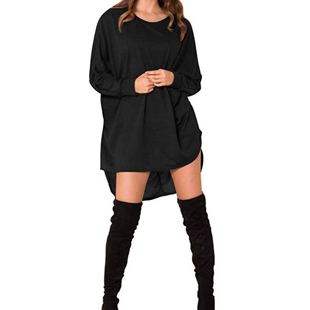 TIREOW Damen Long Batwing Sleeve Top übergroßen Casual O-Ausschnitt Unregelmäßigen Saum Bluse