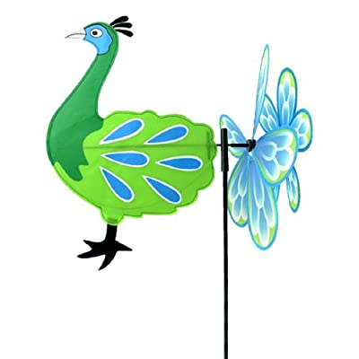 "Midwest Design Imports, Inc. Peacock Garden Spinner Flag - 38"" : Garden & Outdoor"