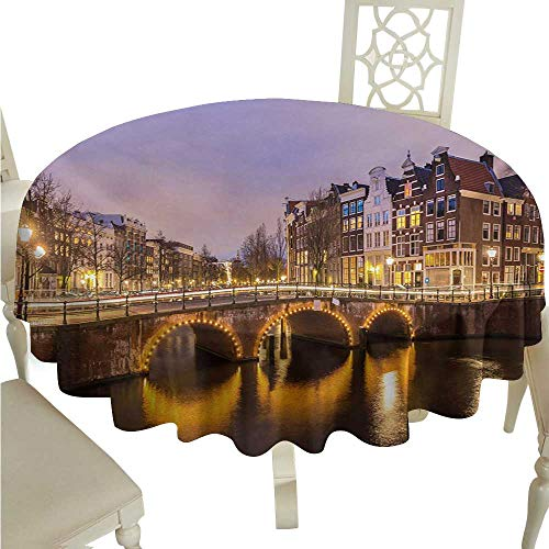 crabee Round Tablecloth Vinyl Fitted Landscape,Old Historical Bridge in Netherlands Twilight European Architecture Town Scenery,Amber Lilac D50,for Spring ()