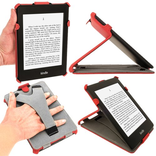 iGadgitz Red PU Leather Case Cover for Amazon Kindle Paperwhite 2015 2014 2013 2012 with Sleep/Wake Function & Integrated Hand Strap (Igadget Grips)