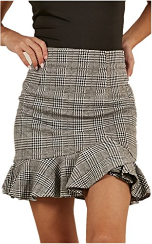 katiewens Women's High Waist Classical Bodycon Plaid Ruffle Mini Skirt Gray