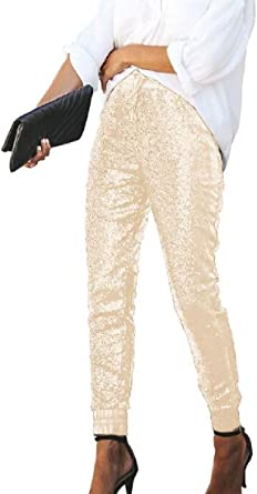 Fubotevic Womens Drawstring Elastic Waist Stretchy Basic Pockets Long Pants