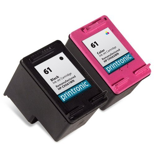 Printronic 2 Pack Remanufactured HP 61 Ink Cartridge for HP Envy 4500 5530 Deskjet 2540 1510 2050 3050 OfficeJet 4630 Printers (1 Black 1 Color) by Printronic