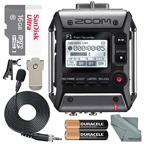 Zoom F1 Field Recorder with Lavalier Microphone F1LP Package with 16GB MicroSD Card and Photo Savings Basic Bundle ()