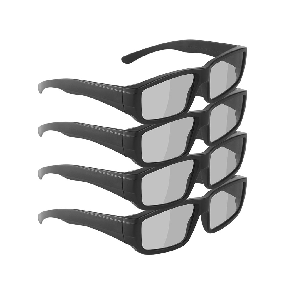 Unisex Passive 3D Glasses for LG, Panasonic, Toshiba, more Passive 3D TVs for Watching Movies – Family Pack– New Polarized Lenses for Better Eye Protection (4 Pack)