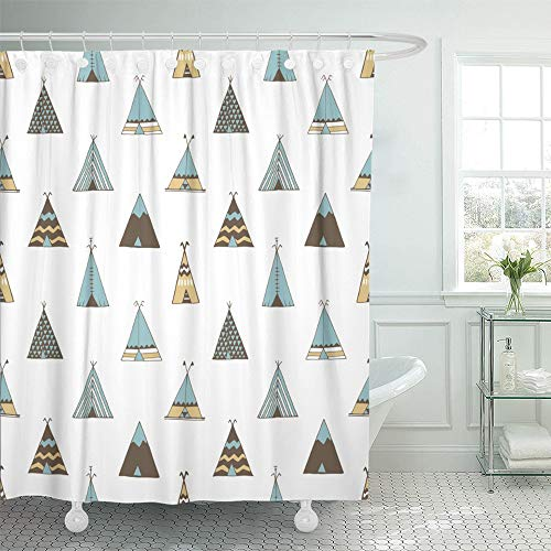 Teepee Postcard (Emvency Shower Curtain 66x72 Inch Home Postcard Decor Boho Teepee Native American Summer Tent in Indian Aloha Camping Woodland Caravan Shower Hook Set are Included)