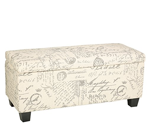 Cortesi Home Fitzgerald Script Fabric Storage Ottoman Long Bench by Cortesi Home