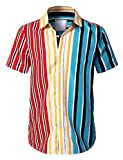 URBANCREWS Mens Hipster Hip Hop Casual Short Sleeve Button Down Striped Shirts MULTICLR-M