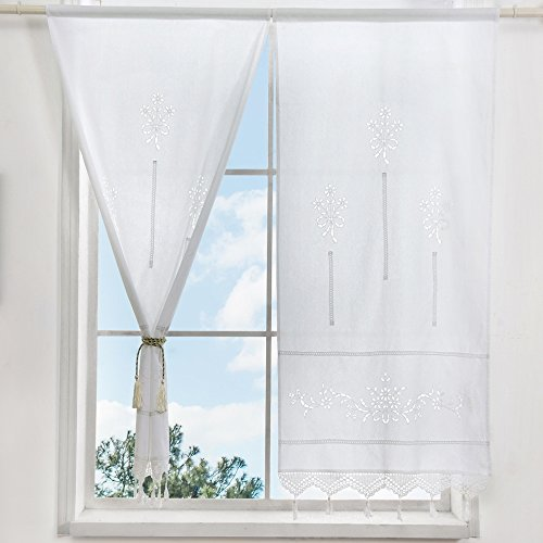 ZHH Handmade Cotton Crochet Lace Curtain Hollow Flower Curtain 27 by 59-Inch(One Piece), White (French Curtains Lace Cafe)