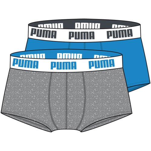 PUMA Herren Basic Shortboxer Boxershort Unterhose blue / grey 417 - L 6er Pack