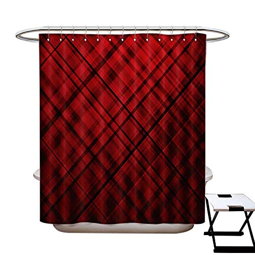 (Red and Black Shower Curtain Collection by Scottish Kilt Design Pattern with Stripes Lines Squares Ombre Image Patterned Shower Curtain W36 x L72 Burgundy and Scarlet)