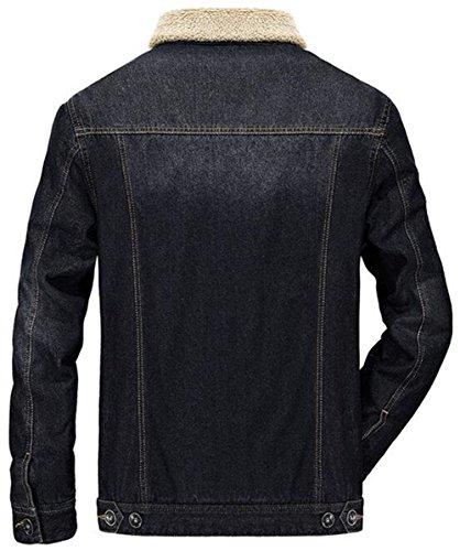 Jjzxx Maschile nero Calda Fit Allineato Uk9757 Finto Parka Pelliccia Di Giacca Collo Denim Slim Outwear rtq6wPrYSn