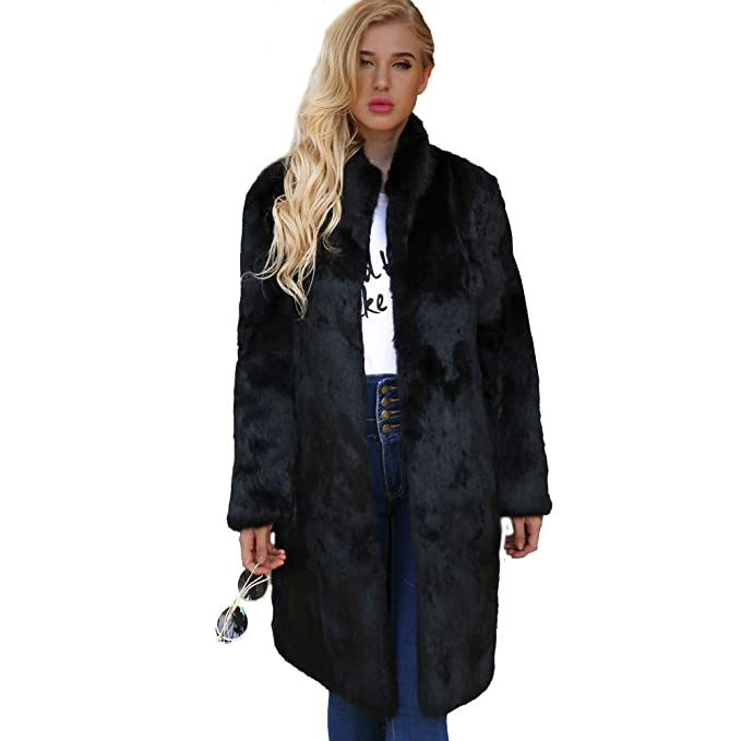 Luckycat Abrigo de Lana Artificial cálido para Mujeres Chaqueta de Cuello de Invierno Parka Abrigos (