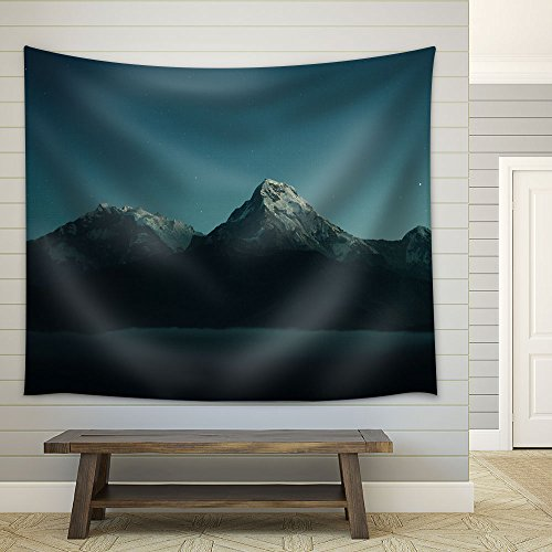 Mountain Peaks Covered Snow at Night Fabric Wall