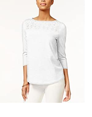 American Living Womens Three-Quarter-Sleeve Lace-Inset, White, Small