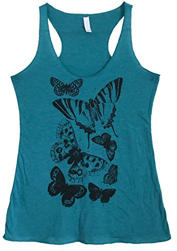 Friendly Oak Women's Moth and Butterfly Print Tank Top - L - Teal (Butterfly Print Tank Top)