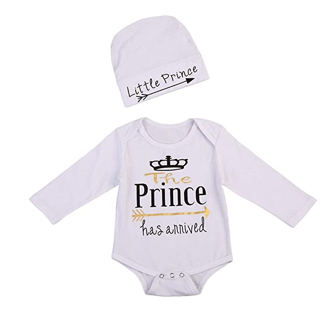 ba826948c Amazon.com: The Prince Has Arrived Baby Girl Boy Outfit Onesie Newborn  Outfit Onsie Long Sleeve Romper Toddler Clothes Set: Clothing