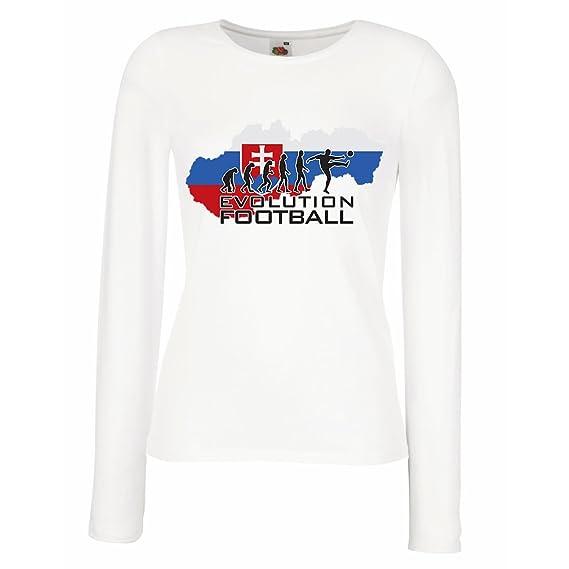 Camisetas de Manga Larga para Mujer evolución fútbol - El Equipo Nacional de fútbol de Eslovaquia