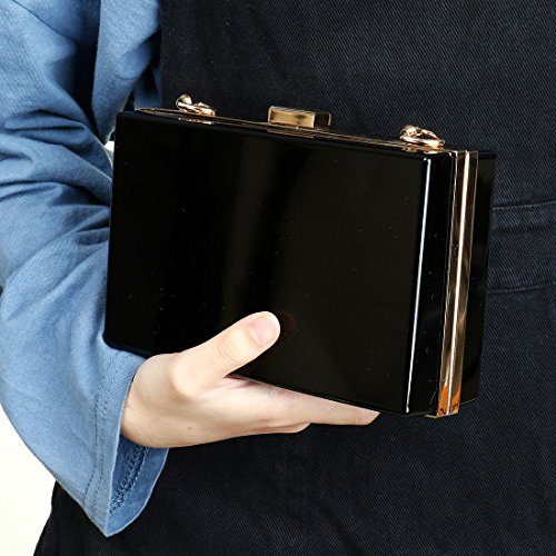 Purse Ladies Acrylic Handbag Clutch Clear Handbag Black Transparent Jelly Body Box Gift Cross Women Ideal Evening Bag POqpwBAHx