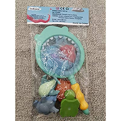 TwKueor Baby Bath Toy Set with Soft Cute Ocean Animals Bath Squirters and Fishing Net 7 PCs: Toys & Games