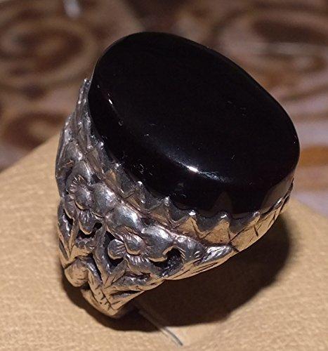 YEMEN 925 sterling silver men ring shefat abed habashi aqeeq agate شفة العبد